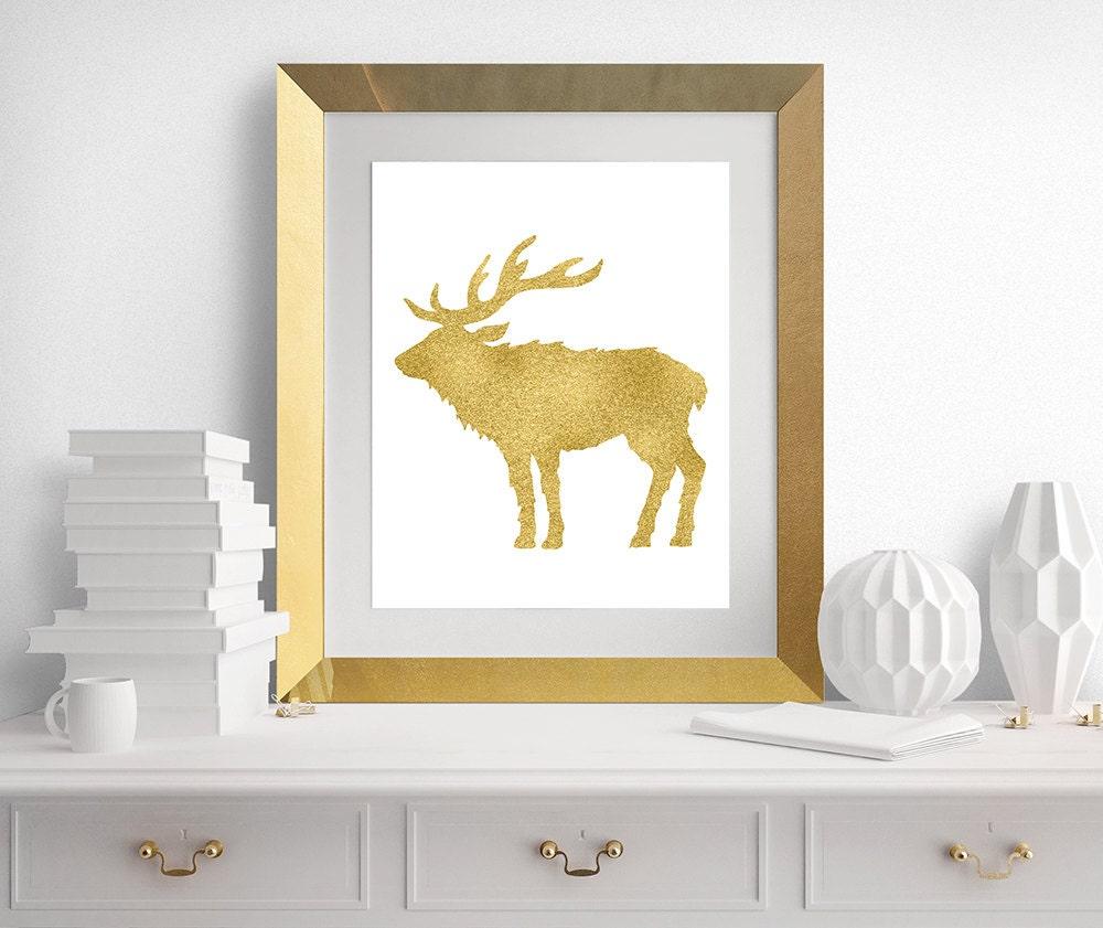 Deer Antlers Print Antlers Gold Nursery Art Deer Woodland | Etsy
