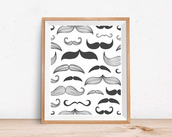 Print Art, modern art Print, Poster, Instant Download Printable, mustache art, mustache print, black and white graphic art print