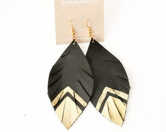 Leather Feather Earrings - Gold Arrow