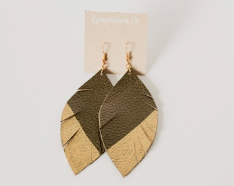Gold Dipped Olive Leather Feather Earrings