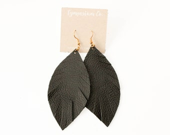Leather Feather Earrings - Black