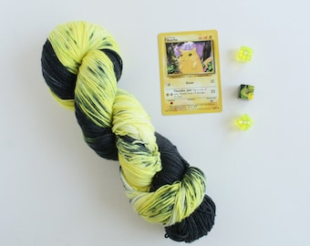 Pika Pika - Pikachu Pokemon - hand dyed yarn - geek yarn - hand dyed sock yarn - sock yarn - indie dyed yarn - speckled yarn - hand painted