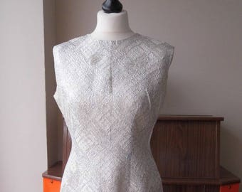 """1950s wiggle dress, silver party dress bust 38/39"""" Bust"""