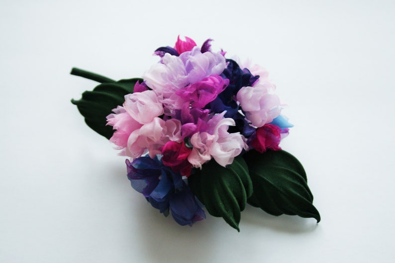 bride/'s Mom brooch bridesmaid flower brooch Pink blue silk flower boutonniere floral fabric brooch for her