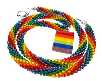 Complete Kit - Kumihimo 8 Strand Rainbow Pride LGBT Topan Spiral Necklace