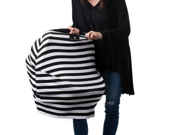 MUMSON Baby Car Seat Cover Canopy and Nursing Cover Multi-use Stretchy 3 in 1 B&W Signature Stripes