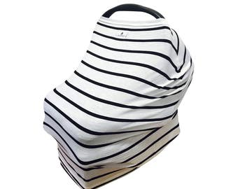 MUMSON Baby Car Seat Cover Canopy and Nursing Cover Multi-use Stretchy 3 in 1 Cream and Grey Stripes