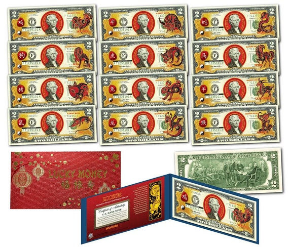 2020 Chinese New YEAR OF THE RAT Polychrome 8 Rats $2 Bill in Large 8x10 Folio