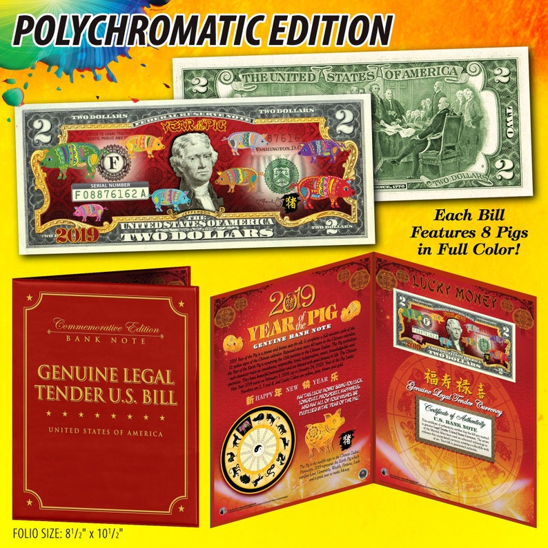 2019 Chinese New Year - Polychromatic YEAR of the PIG Two Dollar Bill on  Genuine US Currency in Large 8 x 10 Red Display Folder - Ships Fast