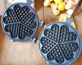 Antique Waffle Iron. French Waffle Pan. Cast Iron, Antique, French Waffle Maker. Heart Shaped Pancake Waffle Mold. Fireplace Décor.