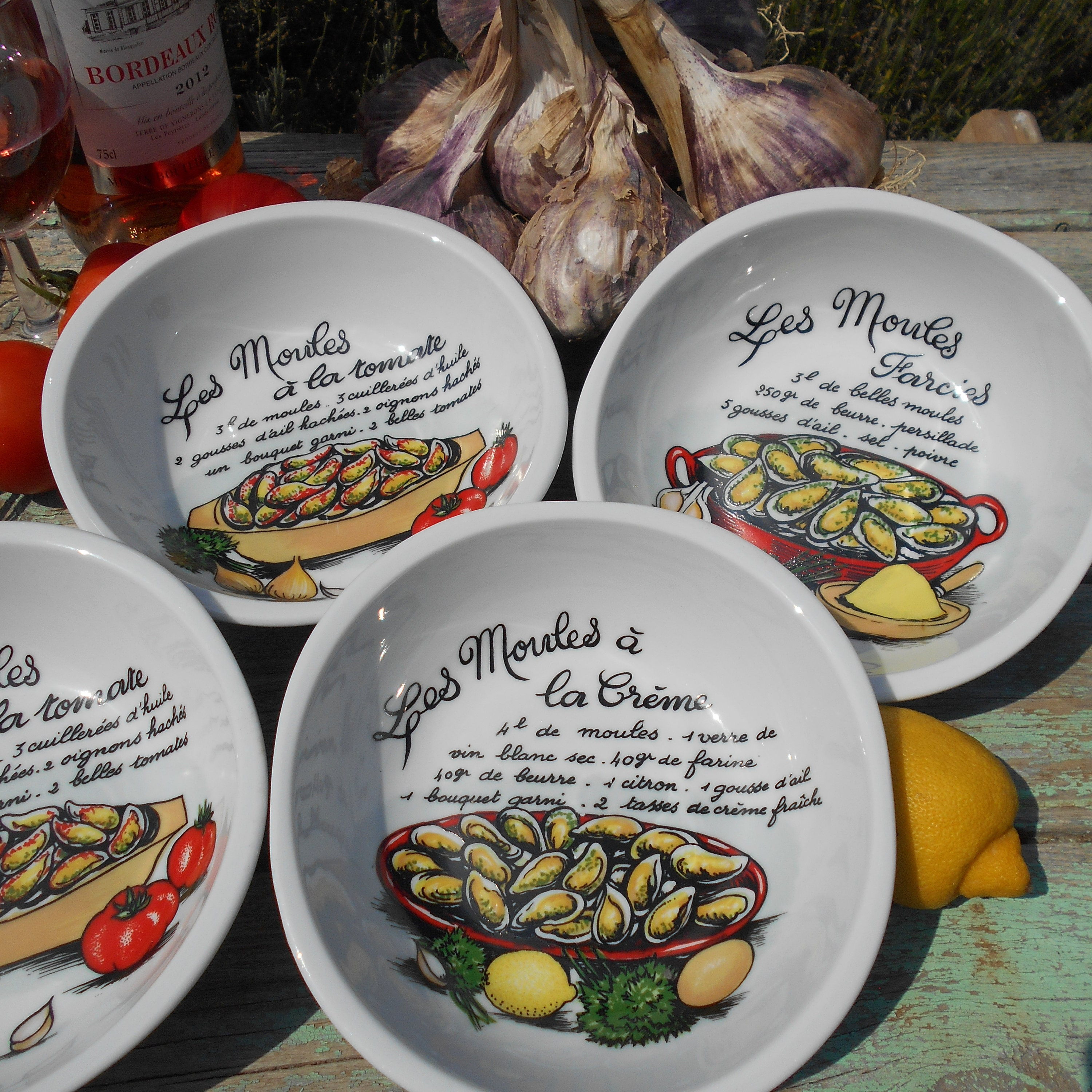 Magret Canard Foie Gras Four four french mussel (moules) recipe bowls. french moule recipe dishes from  the 1980s. pillivuyt porcelaine.