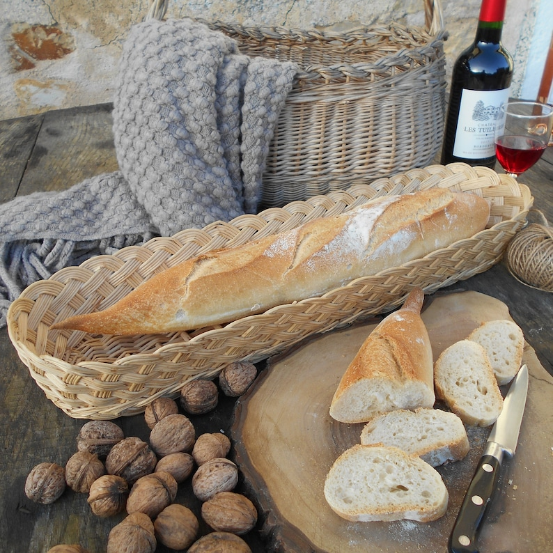 Extra long vintage French baguette basket from France. French Country Basket Inspiration: Resources for Rustic, French Market, and Boulangerie as well as photos to Inspire!