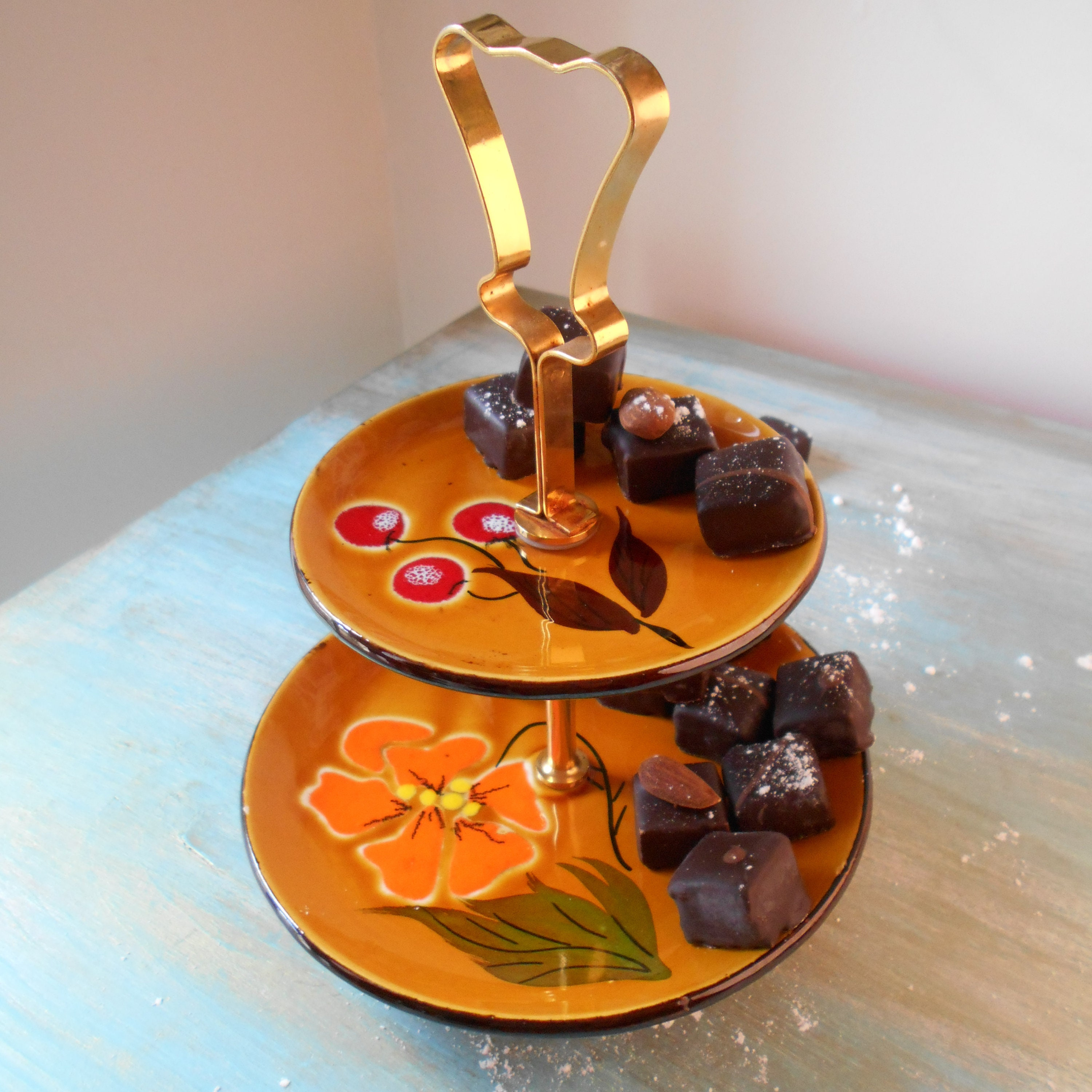 Magret Canard Foie Gras Four two tier petit fours, mini cupcake, chocolate display stand. mid century  cake stand with plated brass handle. poët laval vintage etagere.