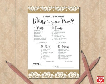 What's in Your Purse Game Printable Bridal Shower Game | Burlap and Lace Bridal Shower, Boho | Instant Download JPG, Digital Shower Game