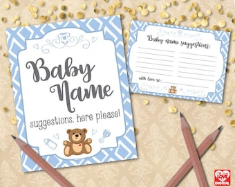 Baby Name Suggestions, Printable Baby Shower Activity, Blue Teddy Bear, It's a Boy, Instant Download, Blue Baby Shower Printables, JPG