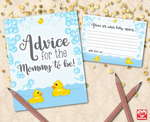 Rubber Duck Printable Baby Shower Mommy Advice Cards
