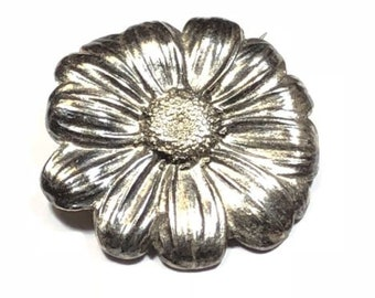 Vintage Ladies Sterling Silver Sunflower Design Pin/brooch Must See! Patina!
