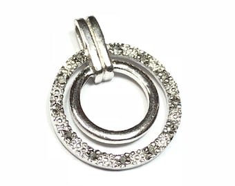 Double Round 925 Sterling Silver Necklace Pendant