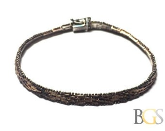 6.75\u201d stamped 925 925 elongated link chain 6mm vintage Sterling silver handmade bracelet