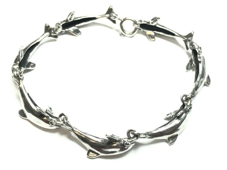 Beautiful Ladies Solid Sterling Silver Dolphin Bracelet KABANA