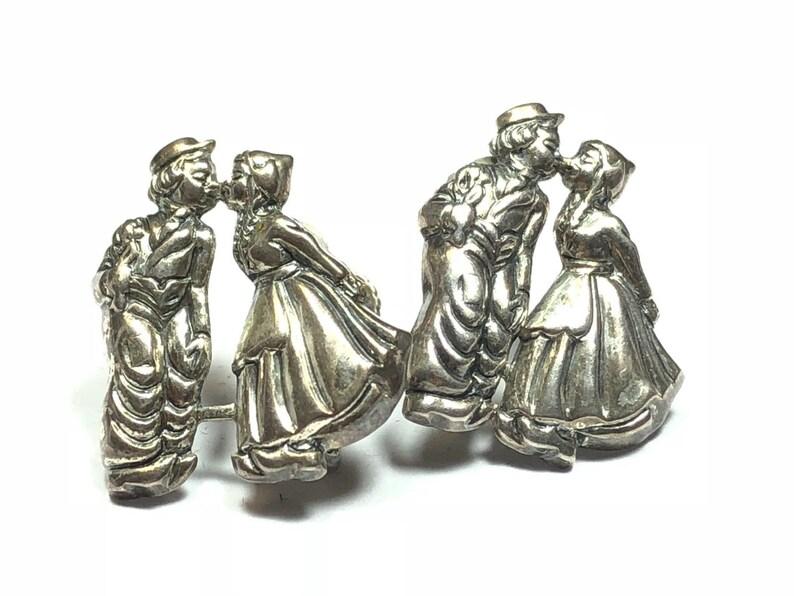 Woman In Dress Kissing Man Hobo L@@K! 925 Sterling Silver Screwback Earrings