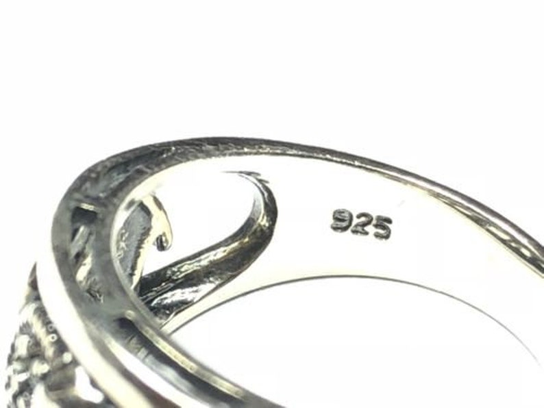 Beautiful Ladies Sterling Silver Marcasties Elephant Ring Signed NV Size 7.25