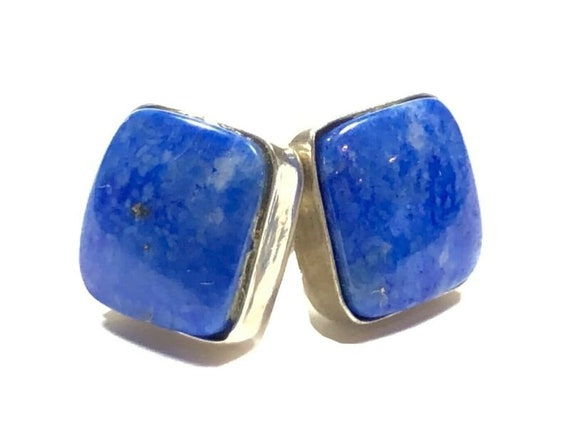 h487 Unique Sterling Silver Stud Pierced Earrings with Hanging Blue Resin Square