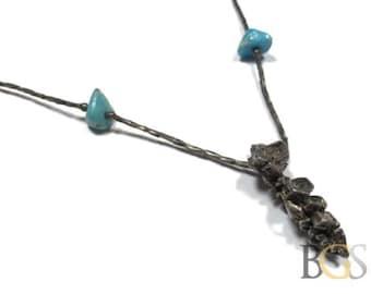 "Vintage .925 Sterling Silver Tube Bead Bracelet w/ Turquoise & Pendant - 16"""
