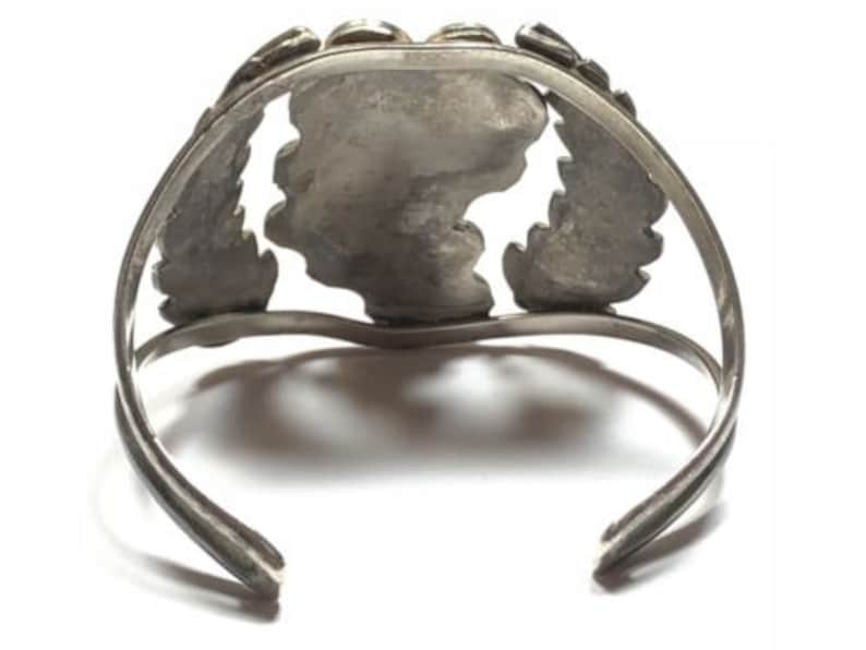 Vintage Native American Ladies Sterling Silver TurquoiseCoral Cuff Bracelet