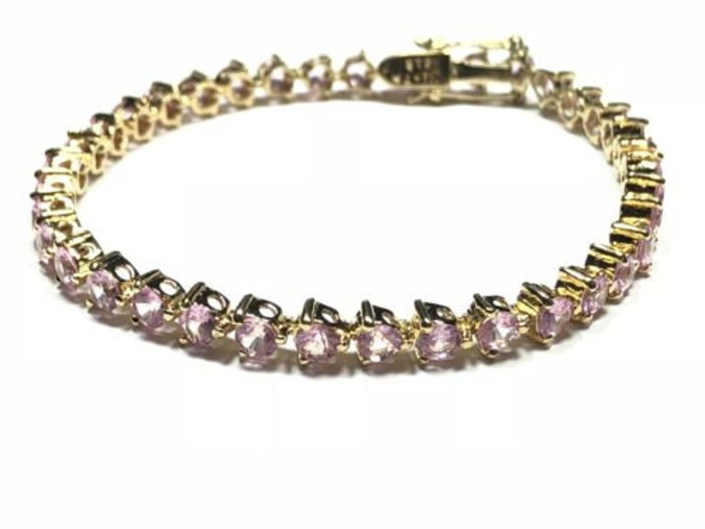 Beautiful Ladies Gold Vermeil Sterling Silver Pink Topaz Bracelet Signed ISC-TH