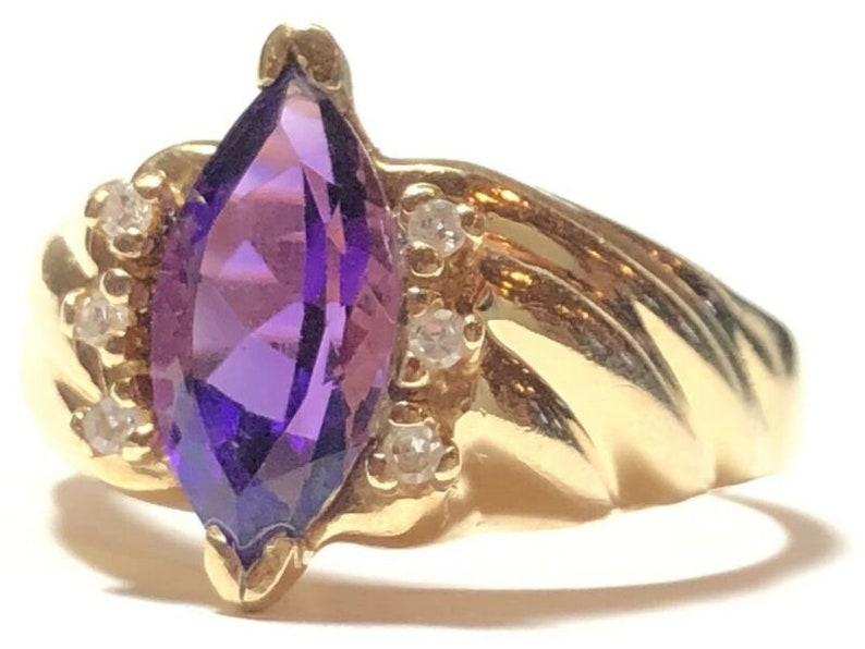 Size 9 Stunning Ladies 14K Yellow Gold Purple Amethyst /& Diamond