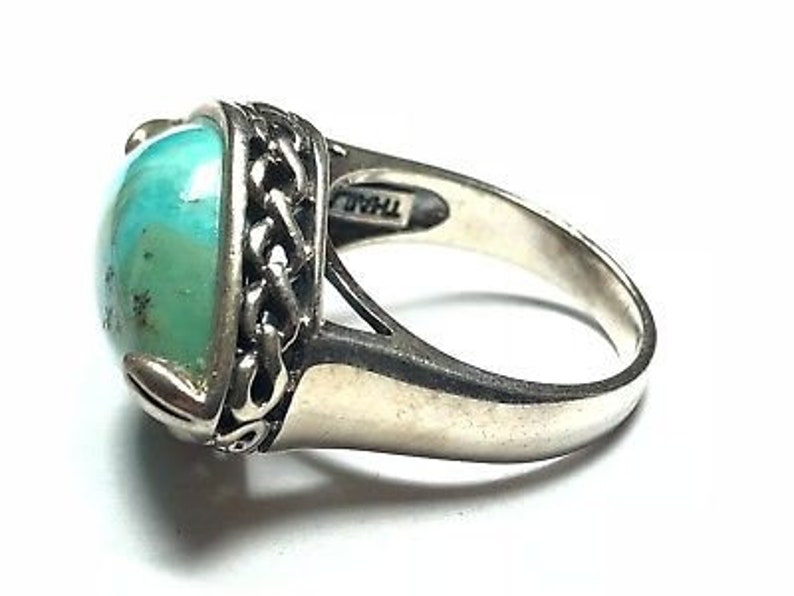 Size 8.25 Faux Turquoise Must See Beautiful Ladies Native Sterling Silver