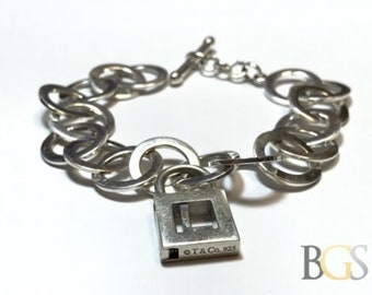 Authentic TIFFANY & Co. Round Chain Bracelet w/ Working Lock Pendant - Letter L