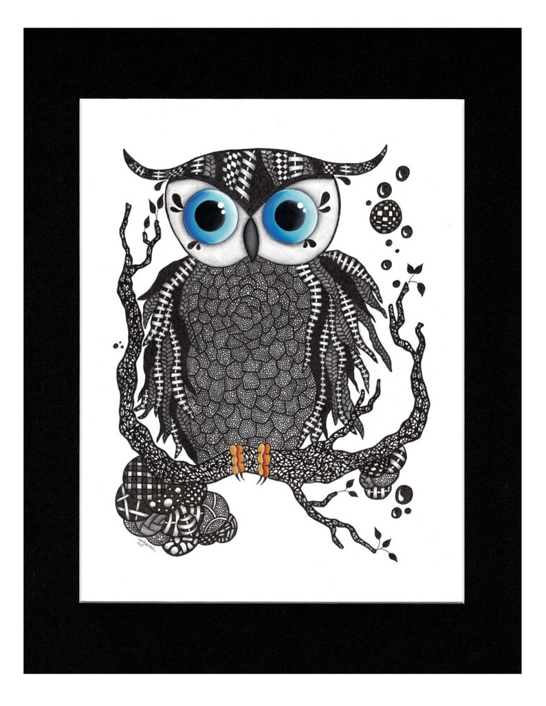 Owl Drawing;   Original Pen and Acrylic Drawing Titled Blue Eyed Owl and Inkjet Prints and Note Cards