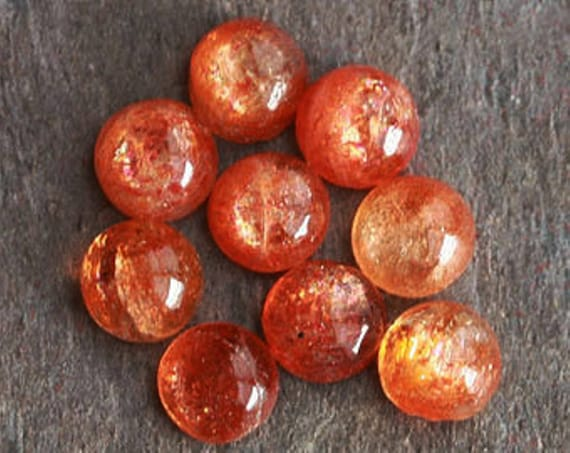 Wholesale Lot 5x5mm Round Cabochon Natural Sunstone Loose Calibrated Gemstone **