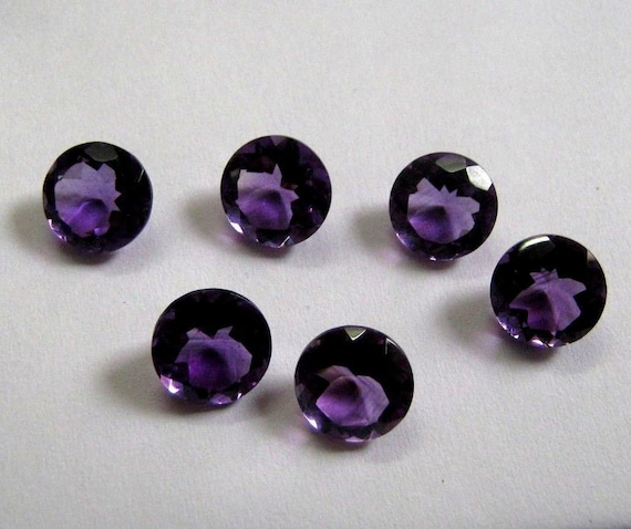 Natural Purple Amethyst 3X3mm To 10X10mm Round Cabochon Loose Gemstone
