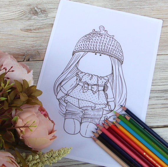 Coloring doll Coloring page Printable Drawing Instant download coloring  pages kids Digital File Coloring children printable coloring pages
