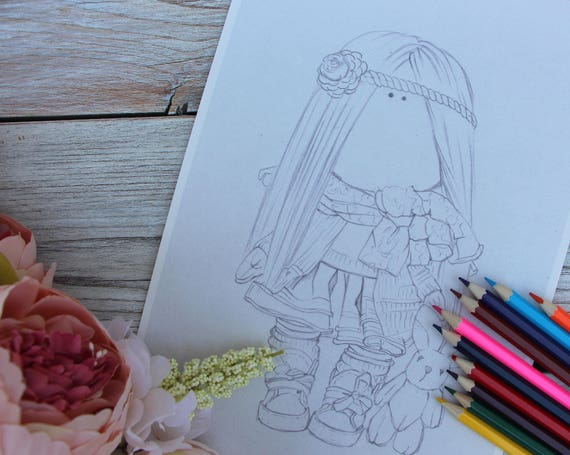 Coloring page doll Coloring children coloring pages kids Drawing Instant  Printable Beautiful doll pencils coloring art doll