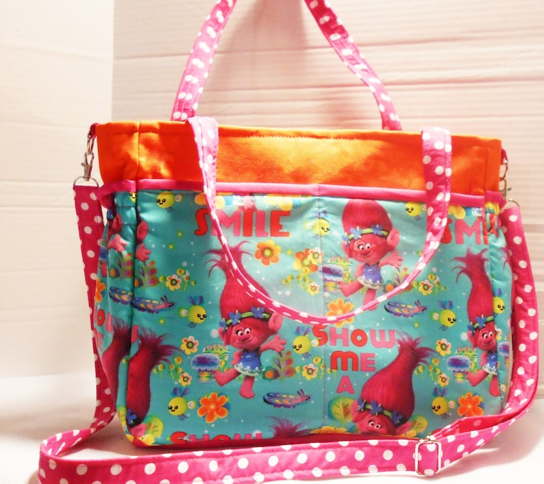 577dedcfb945f Dreamworks Trolls Movie Diaper Bag, Poppy diaper Bag, Troll Baby Bag,  Trolls Poppy Baby Bag, Colorful Baby Bag, Girls diaper bag, Nursery