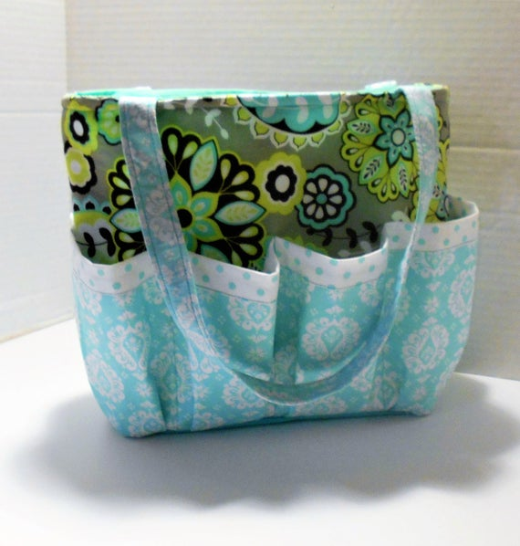 Teal Floral Caddy Bingo Caddy Organizer Caddy diaper | Etsy