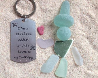 Sea Glass,  Keychain, Handstamped, Dog Tag