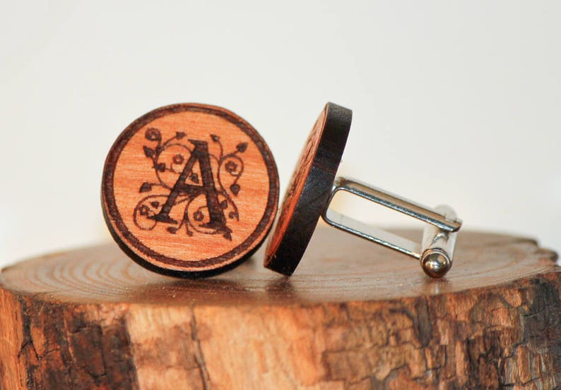 Wooden Cuff links,Custom Initial Cuff links Set,Engraved Cufflinks,Handcrafted Wood Jewelry Shirt Accessory Cuff Link Set Gift for him
