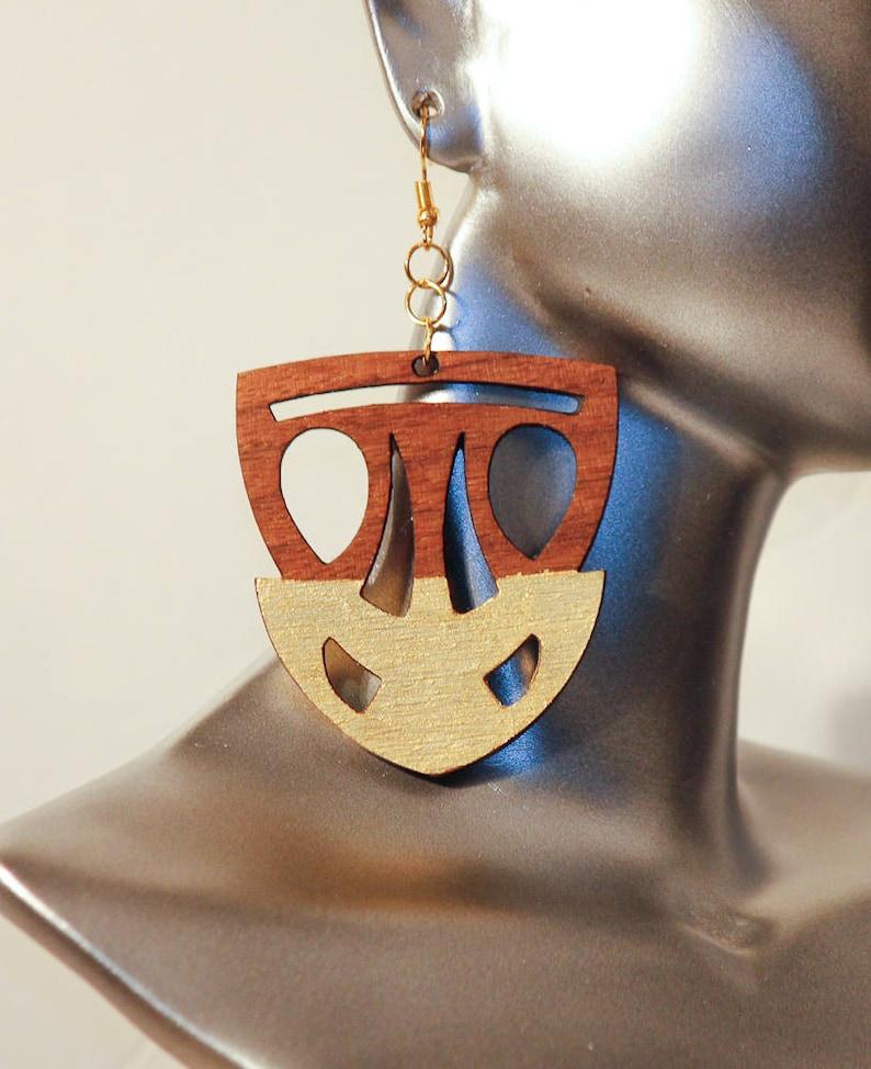 Wooden Earrings,Ethnic Gifts for Her,Afrocentric Earrings,Afrocentric Jewelry,Custom Gift for Her,Natural Earrings,Handmade Dangle Earrings,