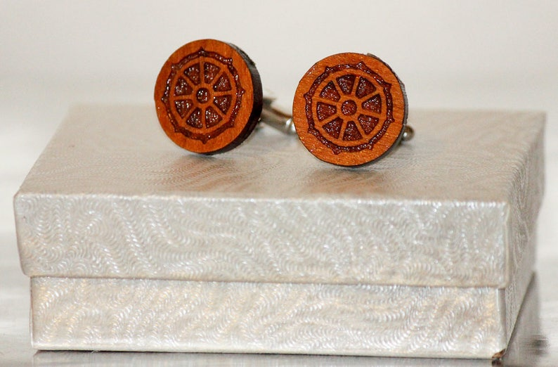 Handcrafted Cuff links Set,Religious Jewelry,Shirt Accessory,Gift Buddhist Wooden Cuff links Religious Symbol,Engraved Wood Cuff link Set