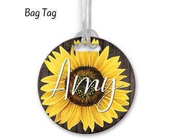 Luggage Tag Customized Bag Tag Personalized Bag Tag Gifts for Her Sunflower Bag Tag Monogram Bag Tag Bridesmaid Gifts,BA38