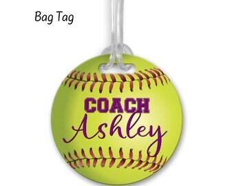 f7d94e54ad8c Softball luggage tag   Etsy
