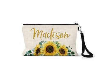 Sunflower Makeup Bag, Cosmetic Bag, Bridesmaid Gift, Wife Gift, Girlfriend Gift, Birthday Gift, Best Friend Gift, Gift For Her, CO23