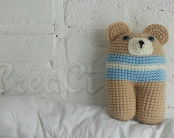 Rattle toy bear. Crochet toy by CreaCi. Ready to ship