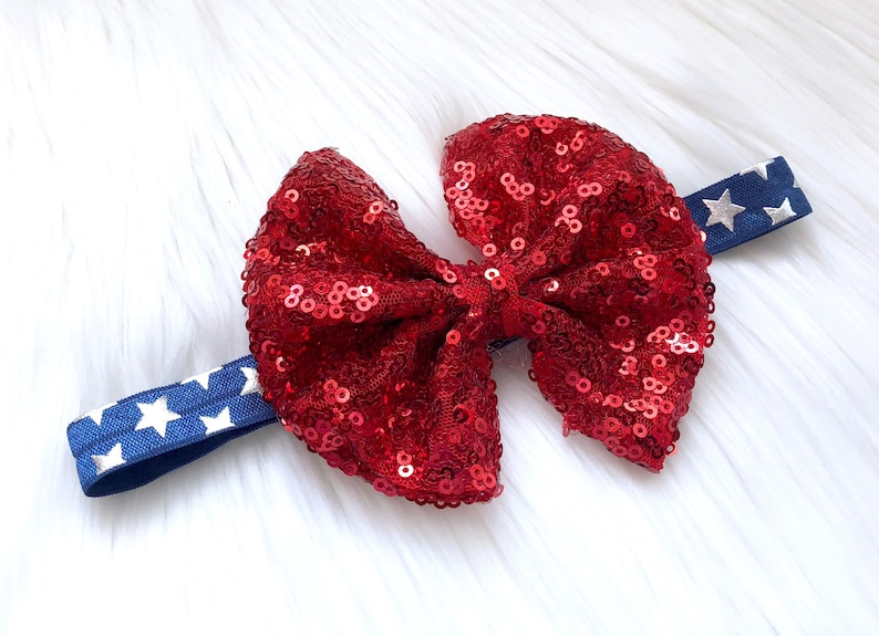 4th of July Star Headband with Sequin Bow baby shower baby headband new baby big Sequin bow