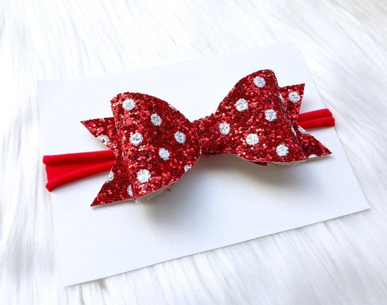 b1a8ce795e2dc Girls Christmas Outfit, Red glitter bow, nylon headband, baby headband,  polka dot bow, leather bows, newborn christmas outfit, baby shower
